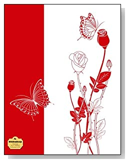 Red Rosebuds On White Notebook - Classy red and white drawing of rosebuds and butterflies make a dramatic cover for this wide ruled notebook.