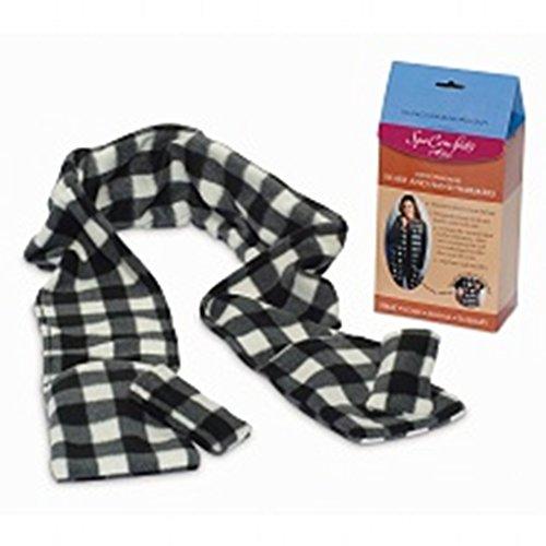 Spa Comforts Microwavable Scarf And Hand Warmer Set, Black-And-White Checks