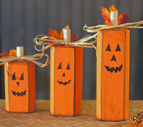 Reclaimed Wood Pumpkins, Set of Three, Rustic Halloween Decoration