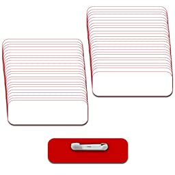 Name Badges with Pin Fastener - 50pk Kit Includes Crystal Clear Labels - White / Red Blank Plastic 1/4th Rounded Corners 1\
