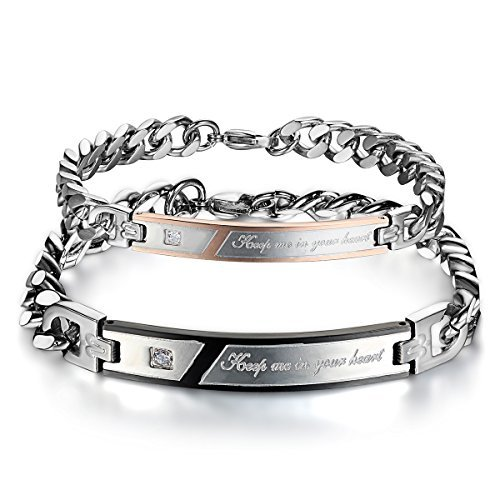 "JewelryWe Schmuck Edelstahl Armband Panzerarmband mit ""Keep Me in Your Heart"" Gravur Panzerkette Partnerarmband Herren Männer Armreif, Silber Schwarz, mit Geschenk Tüte"