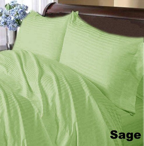 "3Pc Fitted Sheet 1000 Tc 100% Egyptian Cotton 18"" Deep Pocket Full Size Sage Stripe Discount Sp - 24"
