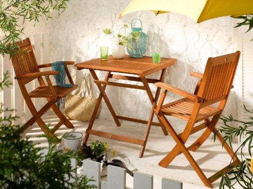 Balkonsitzgruppe Klappsitzgruppe Gartengruppe Gartenmöbel 3-tlg. Eukalyptusholz jetzt kaufen