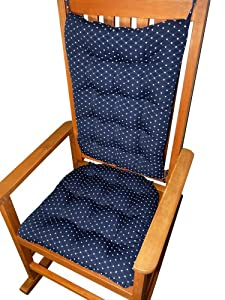 Rocking Chair Cushion Set Tiffany Navy Blue Brocade Diamond Pa
