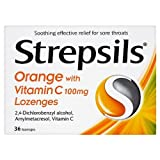 HayMax Strepsils Extra Orange With Vitamin C 36 Sore Throat Relief Lozenges
