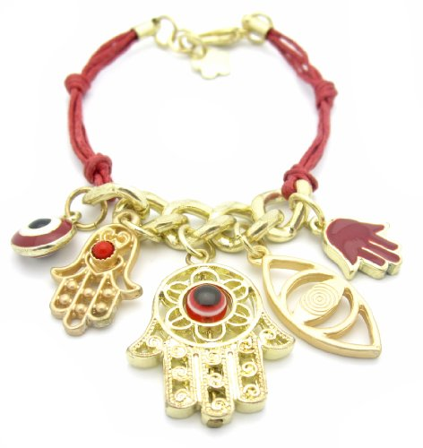 Red String Bracelet with Gold Plated Hamsa/Hand of Fatima and Evil Eye Charm - Good Luck Bracelet