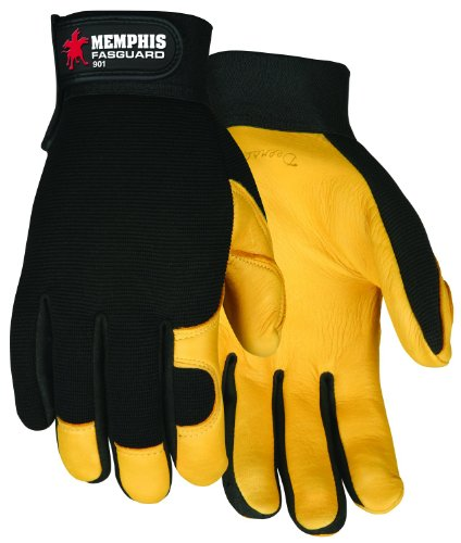 MCR Safety 901L Fasguard Premium Grain Deerskin Multi-Task Gloves with Black Spandex Back and Adjustable Wrist Closure, Yellow/Black, Large, 1-Pair (Made In Usa Leather Gloves compare prices)