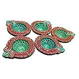 Sanskrite India Designer Terracotta Diwali Diya Multicolor Set Of 5 With Cotton Wicks Diwali Gift Art Décor