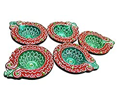 Sanskrite India Designer Terracotta Diwali Diya Multicolor Set Of 5 With Cotton Wicks Diwali Gift Art Dcor