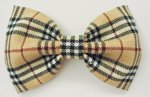 Brown Plaid - Dog or Cat Handcrafted Slide-On Bow Tie Collar Accessory (Collar Not Included)