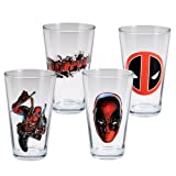Vandor 26312 Marvel Deadpool 4 pc 16 oz Glass Set, Red, Black, and White