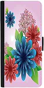 Snoogg Spring Flowers Graphic Snap On Hard Back Leather + Pc Flip Cover Moto-X