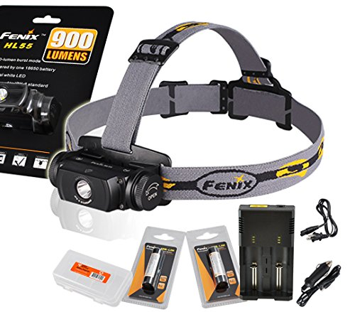 Fenix Hl55 900 Lumens Rechargeable Headlamp With Two Fenix Rechargeable Batteries, A Two Channel Universal Charger, Car Adapter And Lumentac Battery Organizer