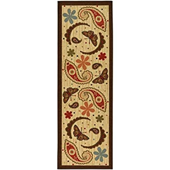 Ottomanson Saras Kitchen Paisley Design Mat Runner Rug with Non-Skid (Non-Slip) Rubber Backing, Beige, 20