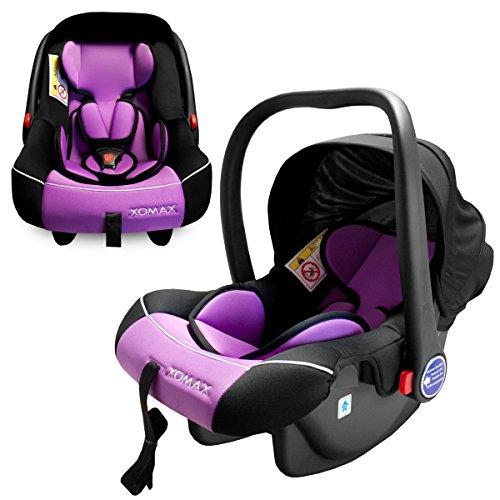 XOMAX XM-B01 Seggiolino bebè per auto + Ovetto auto + Gruppo 0+ (0-13 kg) + color grigio/nero/viola + Cintura di sicurezza a 3-punti + Protezione laterale ottimale + parasol + lavabile a 30 ° C