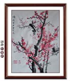 Oridental Artwork Unframed Hand Painted Art Chinese Brush Ink and Wash Watercolor Painting Drawing Picture on Rice Paper Red Plum Blossom Signed Decorations Decor for Office Living Room