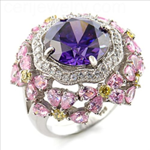 6ct Cluster Ring Gold Plated Amethyst Canary and Clear color Cubic Zirconia (9)