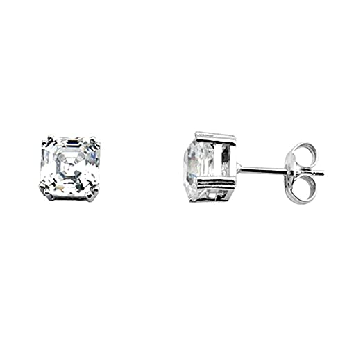 18k white gold cubic zirconia earrings 6mm. [AA5294]