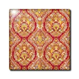 ct_181060_6 Florene - Vintage Textiles - Image of french fabric in red and gold from 1850 - Tiles - 6 Inch Glass Tile