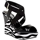 Zebra Wedge Platform Sandal Criss Cross Heels