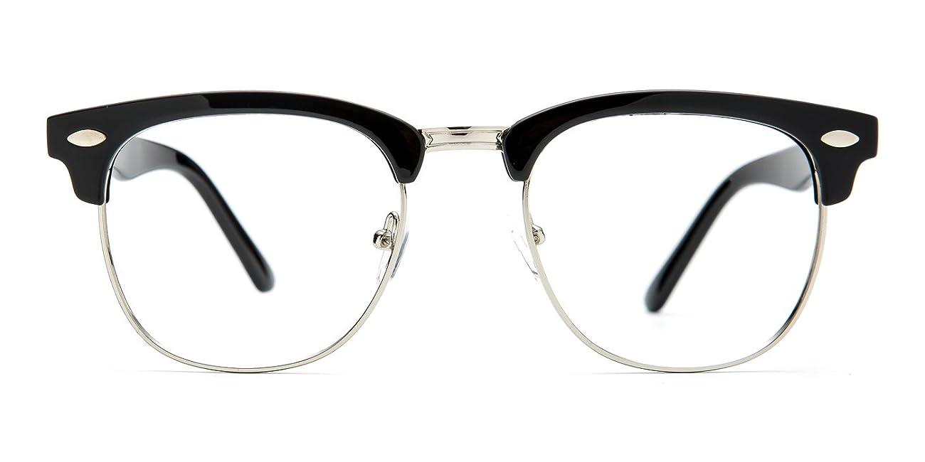 TIJN® Men's Classic Inspired Half Frame Nerd Horn Rimmed Clear Lens Glasses 1