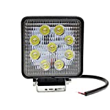 GBT LEDワークライト LED作業灯 12V 24V兼用 9LED 27W級 角度調節 専用ステー付 1灯売り