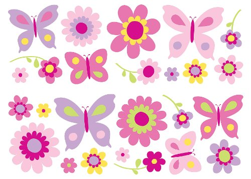 Fun4Walls Sa30149 Flowers And Butterflies Wall Stickers front-96108