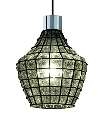 Justice Design Group Wire Glass 1-Light Double Curve Pendant, Polished Chrome