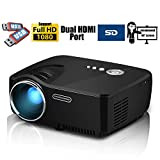 Projector, 2016 Updated Full Color Max 130'' Screen Mini Portable LED LCD Entertainment Home Movie Gaming TV Theater HD Multimedia Pico Projector Support 1080P with Keystone/IR/HDMI/VGA/AV/USB/SD