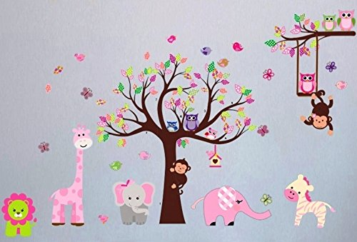 Spectacular  XXL Wall Decal Nursery Giraffe Elephant Monkey