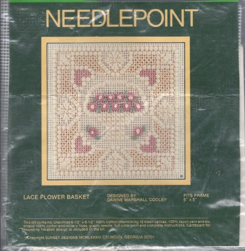 NEEDLE POINT KIT- LACE FLOWER BASKET (UNPRINTED) BY SUNSET (FITS 5