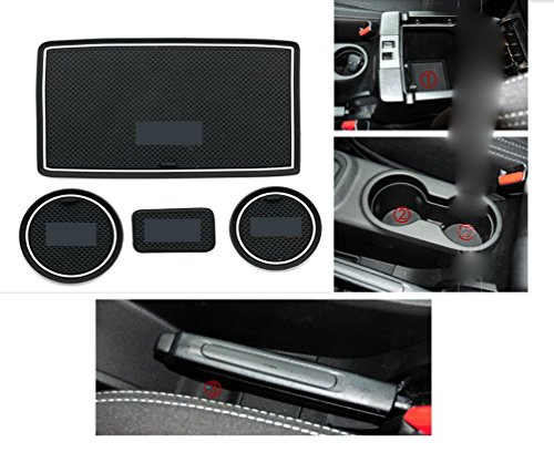 Moonet Heavy Duty Non-slip Interior door Cup Holder Mats Mat For Jeep Wrangler JK AT 2011-2016 Automatic Transmission 4pcs white With LOGO (Transmission Jeep Wrangler compare prices)