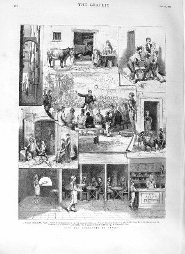 old-original-antique-victorian-print-1881-naples-lazzaroni-cantatore-goats-shop-market-496m124