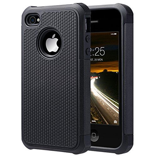 iPhone 4S Case, iPhone 4 Case, ULAK Hybrid Dual Layer Protective Case Cover with Hard Plastic and Soft Silicone for iPhone 4S & iPhone 4 (Black) (Iphone 4 Silicone Cover compare prices)
