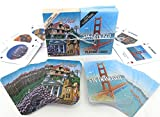 San Jose and San Francisco, Souvenir Playing Cards, Vacation Gift. Card Faces Feature Multiple Landmarks, Oustsanding Tourist Gift. The Two Deck Set Includes a Silver Gift Ribbon