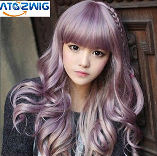 ATOZWIG@Womens Lady Long Curly Wavy Lilac Purple Hair Full Wigs Party Costume Rhapsody Wig Fashion Cosplay (Short Pink Wig)