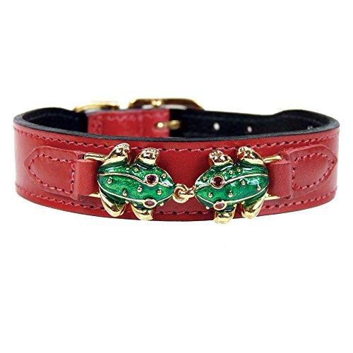 hartman-rose-leap-frog-collection-dog-collar-ferrari-red-16-18-inch