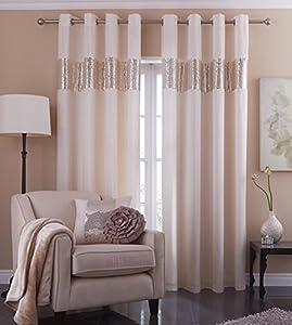 Indus Cream 66x72 Faux Silk Sequin Lined Ring Top Curtains #niuqesklis *tur*