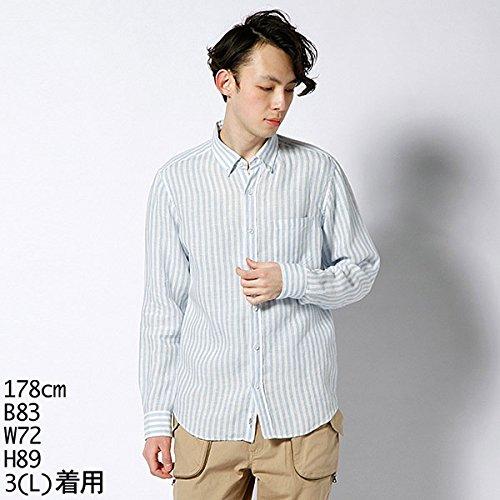 ボイコット(BOYCOTT) シャツ(リネンストライプシャツ)【ブルー/2(M)】