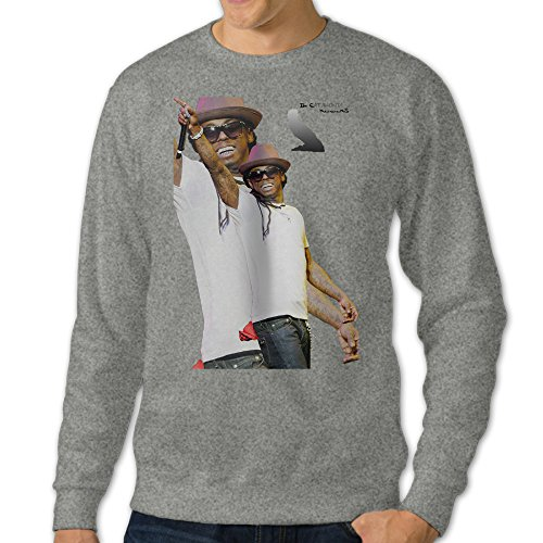 Men's Wayne Round Collar Pullover HoodieAsh Size 3X (Lil Wayne Wait compare prices)