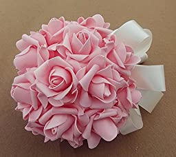 33pcs Ivory Artificial Holding Roses Wedding Bouquet High Gorgeous Charm Emulation Bridal Bride Bouquet Flowers with Green White Ribbon