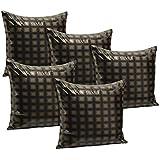 Idrape Rexin 5 Piece Cushion Cover Set- Gold, 40 Cm X 40 Cm