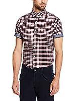 Cortefiel Camisa Hombre Oxford Cuadro Mc T-Relax (Granate)