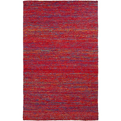 5' X 8' Colorful Noise Venetian Red And Electric Blue Hand Woven Area Throw Rug