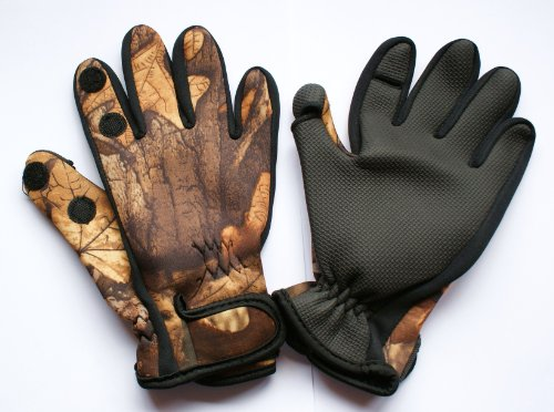 CAMO NEOPRENE GLOVES WITH PEEL BACK FINGER AND
