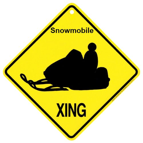 Snowmobile Xing caution Crossing Sign Gift