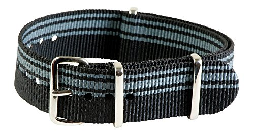 Clockwork Synergy Classic Nylon Nato watch straps bands (22mm, Ducati Black / Grey)