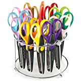 Pattern Craft Scissors Caddy 12 Assorted, Rounded Stainless Steel Blades, for Kid's Arts & Craft Activities (Set of 12)
