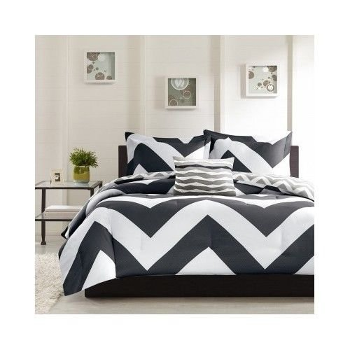 Black White Comforter Set Twin/Xl Chevron Bed Zigzag Bedding Sets Blanket Cover front-1029358