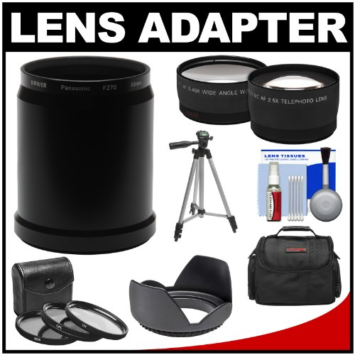 5x Tele & .45x Wide Angle Lenses + Hood + 3 Filters + Case + Tripod
